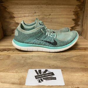 Nike free 4.0 flyknit green aqua running sneakers